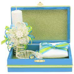 Caja de Madera azul con vela para bautizo