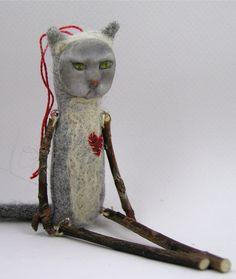 Folk Art Doll ornament cat