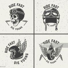 Vector Art : Ride fast die young. Racer helmets, wheel with wings.