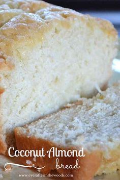 Oh my goodness, this coconut almond bread recipe is so moist and delicious you will just be in heaven when you bake it. I made this recipe with unsweetened almond milk so I don't think it is that bad for your New Year's resolutions! I also used almond ext Just Desserts, Dessert Recipes, Almond Bread, Coconut Bread Recipe, Coconut Quick Bread, Milk Bread Recipe, Almond Pastry, Almond Muffins, Almond Milk Recipes