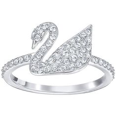 Swarovski Iconic Swan Ring ($75) ❤ liked on Polyvore featuring jewelry, rings, pave jewelry and pave ring
