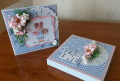 Birthday card and box. Topper is from Hobbyhouse and flowers from Wild Orchid Crafts.