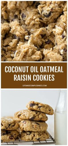 Oatmeal Coconut Cookies, Dairy Free Oatmeal Raisin Cookies, Baking With Coconut Oil, Coconut Oil Recipes Food, Baking Recipes, Cookie Recipes, Healthy Meals To Cook, Eat Healthy, Healthy Recipes