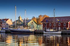 The harbour of Nyköping an early winter morning just after sunrise