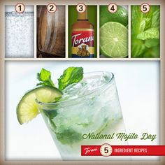 Just mix soda water, rum, lime, mint leaves and your favorite Torani syrup together... and voilà! Yummy mojito! Cheers!