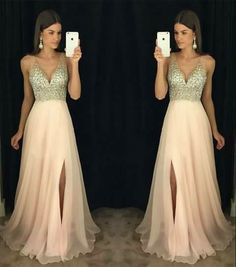 Simple Wedding Dress, New Arrival Prom Dress,Modest Prom Dress,sparkly Crystal Beaded V Neck Open Back Long Chiffon Prom Dresses 2017 Pageant Evening Gowns With Leg Slit AilsaBridal Sparkly Prom Dresses, V Neck Prom Dresses, Prom Dresses 2017, Modest Dresses, Dance Dresses, Pretty Dresses, Beautiful Dresses, Bridesmaid Dresses, Formal Dresses
