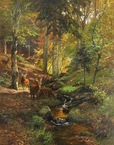 Deer in Forest by Heinrich Bohmer (German, 1852-1930)