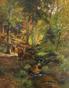Deer in Forest by Heinrich Bohmer (German, 1852-1930)