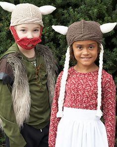 Free Knit Pattern: Sugar'n Cream - Hagar & Helga Hats. Very on-trend, knit these viking-style Helga and Hagar hats for your little warriors!