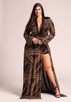 Plus Size Clothing | Plus Size Sparkle Plunge High Slit Maxi Dress | Debshops