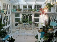 Can you believe this greenhouse is made out of vintage windows?!
