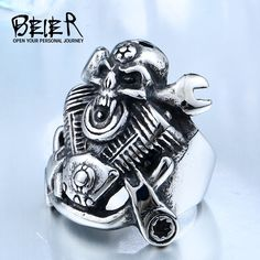 Rings Unique Hot Sell Steel Winged Motorcycle Skull Biker Cool Punk Ring Unique Jewelry for man free - Fashion Jewelry Necklaces, Fashion Bracelets, Gold Jewelry, Jewelry Rings, Jewelry Accessories, Fashion Rings, Gemstone Jewelry, Jewellery, Gemstone Engagement Rings