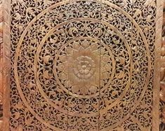 Thai Queen Bed Headboard Sculpture Lotus Flower Mandala Wooden Hand Craved Carving Carve Teak Wood Art Panel Wash Wall Home Decor Wooden Wall Art Panels, Panel Wall Art, Decorative Panels, King Size Bed Headboard, Bohemian Headboard, Thai Decor, Lotus Flower Mandala, White Paneling, Decorate Your Room