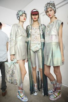 205 backstage photos of Manish Arora at Paris Fashion Week Spring 2015.