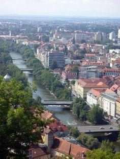 Graz View from castle Mur river Austria