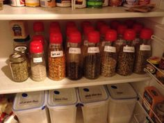 Organized pantry happiness: Coffee-Mate creamer bottles are great for storing dry goods!