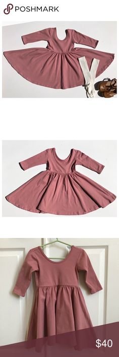 Alice and Ames Mauve Ballet Dress Soft and twirly play dress with a low scoop back, elbow sleeve, and circle skirt. 95% cotton 5% lycra.   The dress is in good condition, worn twice.   NO dryer, washed inside out and hung to dry.   ***This dress ran small IMO. It is shorter then her other 4T ballet dresses*** Alice and Ames Dresses Casual