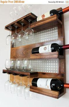 Real Walnut Wood Wall Mounted Wine Rack with by TheKnottyShelf Wine Glass Rack, Wood Wine Racks, Wine Rack Wall, Wine Shelves, Bar Shelves, Wine Storage, Bar Pallet, Wine Rack Design, Wine Bottle Holders