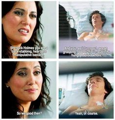 "I liked her at the wedding.. hated her while she was ""with"" Sherlock. But started liking her again in this scene lol"