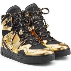 Marc by Marc Jacobs Wedge Sneakers ($365) ❤ liked on Polyvore featuring shoes, sneakers, gold, black shoes, wedged sneakers, black lace up shoes, black sneakers and shiny black shoes