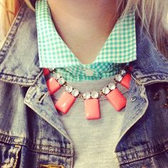 Fall layering and a statement necklace. JCrew. The Baby Giraffe: Daily Decolletage