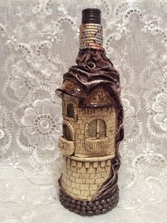 My altered bottle I made from the Chattanooga Whiskey Co. Whiskey Bottle Crafts, Glass Bottle Crafts, Wine Bottle Art, Diy Bottle, Bottle Vase, Beer Bottle, Potion Bottle, Liquor Bottles, Bottles And Jars