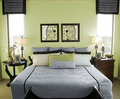 C-I-L lime twist paint  A cheerful lime green wall is the perfect backdrop to luscious, dark furniture and accessories in this Asian-inspired room. A fresh coat of paint in a cheerful colour is an easy way to brighten up your bedroom, and your day!