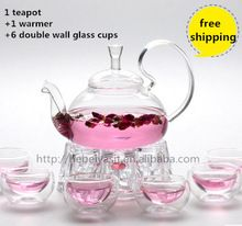 1 teapot with warmer with 6 double layer tea cups set free shipping
