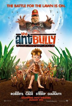 """The Ant Bully on DVD November 2006 starring Nicolas Cage, Julia Roberts Meryl Streep, Paul Giamatti, Lily Tomlin. """"The Ant Bully"""" is based on a book by John Nickle, which tells the tale of a young boy who floods an ant colony with his water-gun Top Movies, Movies To Watch, Movies And Tv Shows, Family Movies, Animated Movie Posters, Original Movie Posters, Nicolas Cage, Tom Hanks, Internet Movies"""
