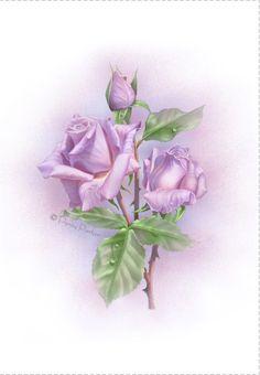 Free Printable Violet Roses Greeting Card