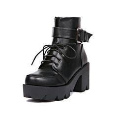 SheIn(sheinside) Black Chunky Heel Buckle Strap Boots (835 UAH) ❤ liked on Polyvore featuring shoes, boots, black, high heel boots, short black boots, black chunky heel booties, chunky heel booties and black booties