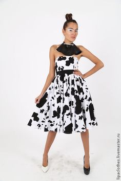 Платье летнее ч/б из хлопка. Handmade.