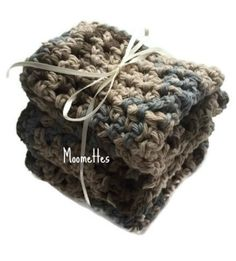 Crochet Kitchen Dish Cloths Rustic Country Blue Brown Eco Friendly Cotton Wash Cloths Handmade Set of 3