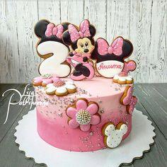Cake Land added a new photo. Mini Mouse Birthday Cake, Mini Mouse Cake, Minnie Mouse First Birthday, Birthday Cake Girls, Bolo Minnie, Minnie Cake, Mickey Cakes, Cake Land, Little Pony Cake