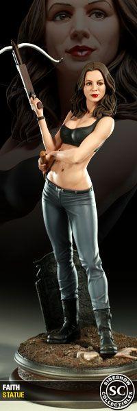 "Statue of Eliza Dushku as Faith the Vampire Slayer from the hit TV show ""Buffy the Vampire Slayer."""