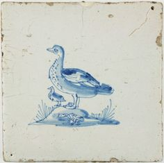 Antique Dutch Delft tile in blue with a duck and her ducklings, 17th century