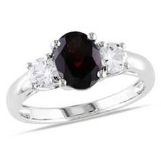 Oval Garnet and Lab-Created White Sapphire Three Stone Ring in Sterling Silver