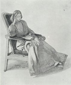 Miss Siddall Reading Drawing by Dante Gabriel Rossetti. Lizzie Siddal later became his wife....
