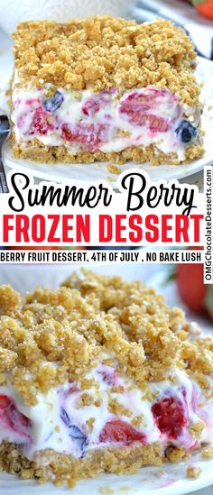 Summer berry frozen dessert is delicious, creamy cheesecake with a mix of fresh summer berries, graham cracker crust and crunchy crumb topping. A festive, red, white and blue dessert, perfect for a 4th of July celebration. #frozen #dessert #berry Köstliche Desserts, Frozen Desserts, Summer Desserts, Chocolate Desserts, Filipino Desserts, Easy Baking Recipes, Cake Recipes, Dessert Recipes, Cuban Recipes