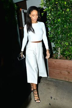 Rihanna owns the culotte trend in a sleek monochrome look: