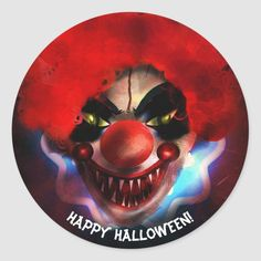 #affiliatelink #promo Creepy Scary Killer Clown Halloween Party Favor Classic Round Sticker #event #horror #evil #costume #club #ClassicRoundSticker #halloweenfavors #halloweenparty #halloween #halloweenentertaining #zazzle Halloween Makeup Clown, Halloween Party Favors, Halloween Gifts, Carnival Birthday Parties, Circus Birthday, Creepy, Scary, Halloween Entertaining, Carnival Themes