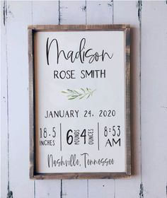 Birth Stats Wooden Sign This piece looks beautiful displayed on a wall or simply placed on a shelf. Birth stats signs are the perfect gift for new mamas! Unisex Baby Names, Names Baby, Birth Announcement Sign, Birth Announcements, Baby Frame, Baptism Gifts, Baby Birth, Baby Shower, Diy Signs