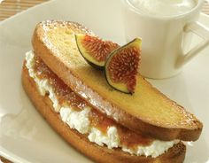 Warm Tsoureki Sandwich with Whipped Manouri, Figs & Warm Almond Milk