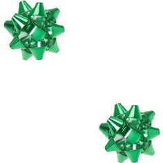 Green Christmas Foiled Bow Stud Earrings | Icing ($35) ❤ liked on Polyvore featuring jewelry, earrings, stud earrings, christmas earrings, green earrings, bow earrings and bow jewelry