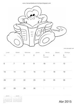 Calendario 2015 para colorear-niños de Manualidadesconmishijas Abril - April calendar