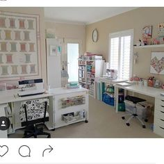 What is more satisfying: an amazing sewing room OR an amazing quilt? #southernfabric #sewingroom #quiltingroom #sewing #quilting. Quilt room by @tiedwitharibbon