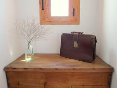 vintage briefcase father's day gift, brown leather portfolio, shabby chic retro mad men 1950s 1960s FREE SHIPPING WORLDWIDE. $65.00, via Etsy.