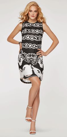 It's love at first sight in this black and white multi pattern short dress. This may even be your new favorite little black dress. Swirl patterns and delicate l Tribal Fashion, Womens Fashion, Tribal Outfit, Beautiful Lines, Spring Looks, Fashion Today, Spring Dresses, A Boutique, Clothes For Women