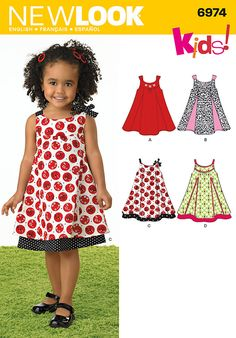 New Look Toddlers' Dresses Pattern  Item# 3197183  Pattern # 6974    Size: A (1/2-1-2-3-4)    Toddlers' dress with sleeve and trim variations. New Look Kids! Sewing pattern.