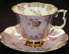 Royal Albert England Mauve Purple Gold TEA CUP AND Saucer by lilian22